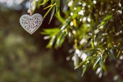 Métal blanc et coeurs en bois accrochant en nature, amour de célébration Image libre de droits