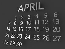 Métal d'April Calender 3D sur le fond gris Illustration de Vecteur