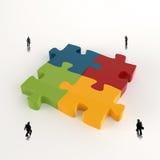 Métal 3d de puzzle d'association et homme d'affaires Image stock