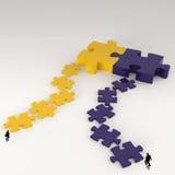 Métal 3d de puzzle d'association et icône d'homme d'affaires Photos libres de droits
