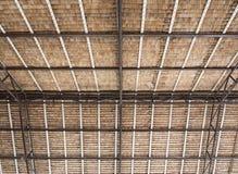Métal et cadre en bois avec les palmettes sèches Photos stock