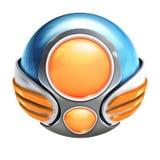 Métal et sphère en verre du résumé 3d, globe avec le masque de coupure Illustration de Vecteur