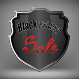 Métal Grey Shield de vente de Black Friday Illustration Stock