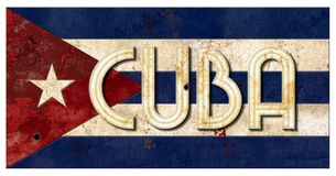Métal grunge vieux Vingage rustique de lettrage du Cuba de drapeau cubain photos libres de droits