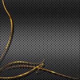 Métal Mesh With Golden Curves Photographie stock libre de droits