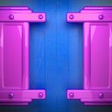 Métal rose et fond en bois bleu Photo libre de droits