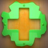 Métal vert et fond en bois jaune Photographie stock