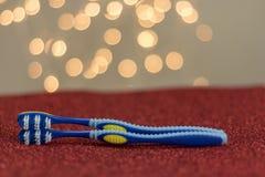 Métaphore bleue de visuel de brosse à dents de couples gais de LGBT Images libres de droits