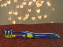 Métaphore bleue de visuel de brosse à dents de couples gais de LGBT Photographie stock