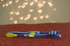 Métaphore bleue de visuel de brosse à dents de couples gais de LGBT Image libre de droits