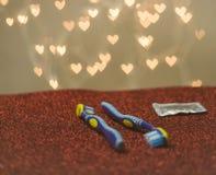 Métaphore bleue de visuel de brosse à dents de couples gais de LGBT Photos stock