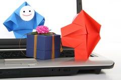 métaphore d'E-transmission et de commerce électronique Photo libre de droits