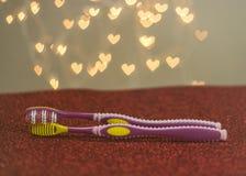 Métaphore gaie de visuel de brosse à dents de couples de LGBT Photographie stock