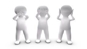 Métaphore personnes qui choisissent de ne pas parler, oreille et voir. illustration libre de droits