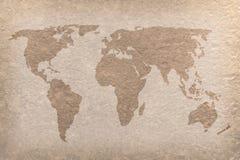 Métier de papier de carte du monde de cru Image libre de droits
