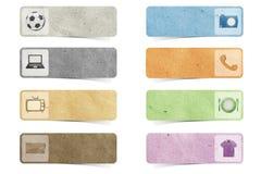 Métier de papier réutilisé par étiquette Images stock