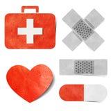 Métier de papier réutilisé par étiquette médical et de soins de santé. Image stock