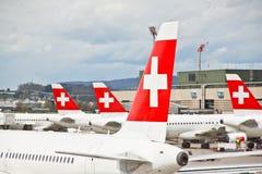 Métiers de l'air du SUISSE à l'aéroport 4 de Zurich Photos libres de droits