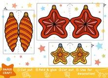 Métiers de papier d'éducation pour les enfants, l'étoile de Noël et les jouets illustration libre de droits