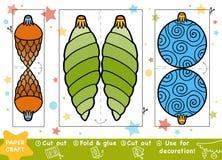 Métiers de papier d'éducation pour les enfants, la boule de Noël et les jouets illustration de vecteur