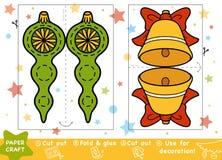 Métiers de papier d'éducation pour les enfants, la cloche de Noël et le jouet illustration de vecteur
