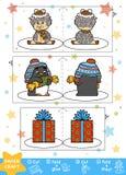 Métiers de papier de Noël pour des enfants Moutons, pingouin et cadeau illustration libre de droits