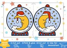 Métiers de papier de Noël pour les enfants, Snowball avec une demi-lune illustration de vecteur