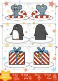 Métiers de papier pour des enfants Cadeau de souris, de pingouin et de Noël illustration stock