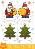 Métiers de papier pour les enfants, l'arbre de Santa Claus et de Noël illustration stock