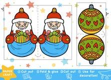 Métiers de papier pour les enfants, la boule de Santa Claus et de Noël illustration libre de droits