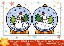Métiers de papier pour les enfants, Snowball avec un bonhomme de neige illustration stock