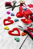 Métiers pour le jour du ` s de Valentine Photo stock