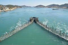 Método tradicional coreano para pescar a anchova Imagem de Stock Royalty Free