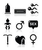Métodos de la contracepción, sexo de los iconos del sexo Imagenes de archivo
