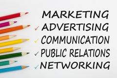 Métodos del márketing de comunicar conceptos foto de archivo