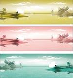 Métropole arabe sur la côte dans trois couleurs Image stock