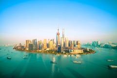 Métropole de la Chine, horizon de Changhaï images libres de droits