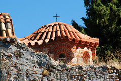 Métropole orthodoxe de Dimitrios de saint au site archéologique de Mystras Photo stock