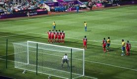 México contra Gabon nos olympics 2012 de Londres Fotografia de Stock