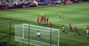 México contra Gabon nos olympics 2012 de Londres Fotos de Stock Royalty Free