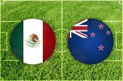 México contra partido de fútbol de Nueva Zelanda Fotografía de archivo