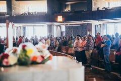 MÉXICO - 20 DE SEPTIEMBRE: Fórmese para las víctimas del terremoto en la basílica de nuestra señora Guadalupe Imagen de archivo