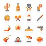 México e ícones mexicanos da cultura Imagem de Stock