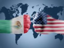 México x EUA imagens de stock