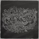 México garabatea el fondo de la pizarra de los elementos Imágenes de archivo libres de regalías