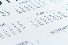 Mês da semana do dia do planejador da data de calendário Foto de Stock