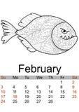 Mês 2019 de fevereiro do calendário Piranha inchada vermelha colorindo Antistress, animal de mar, peixe Vetor ilustração do vetor
