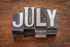 Mês de julho no tipo do metal Imagem de Stock