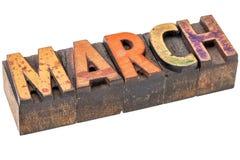 Mês de março no tipo de madeira Fotografia de Stock Royalty Free