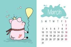 Mês de março página do calendário de 2019 anos com o porco cor-de-rosa bonito ilustração royalty free